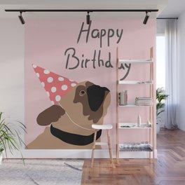 Happy Birthday Pug Flat Graphic Wall Mural
