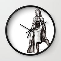 jedi Wall Clocks featuring Grey Jedi by Margret Stewart
