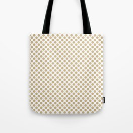Large Christmas Gold Polka dots on White Tote Bag