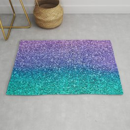 Lavender Purple & Teal Glitter Rug