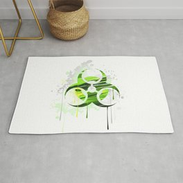 Symbol of Biological Danger Drawn with Paint Rug