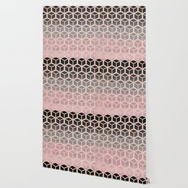 mauve ombre with rose gold hexagons Wallpaper