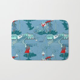 Rainy Day Umbrella and Irish Bridge Blue Vintage Romantic Art Bath Mat
