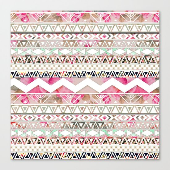 Aztec Spring Time! | Girly Pink White Floral Abstract Aztec Pattern Canvas Print