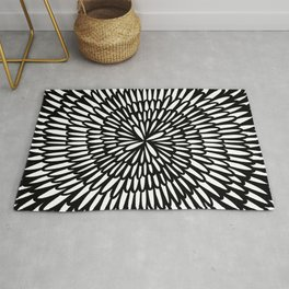 Endless Flower Petals - Black and White Rug