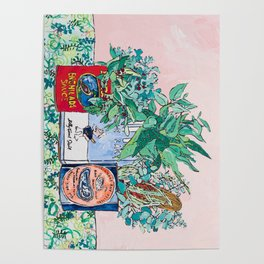 Jungle Botanical in Colorful Cans on Pink - Still Life Poster