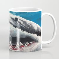 shark Mugs featuring Shark by Kristin Frenzel