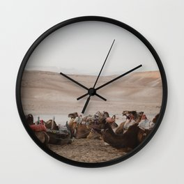 Camels in the Negev desert, Israel Wall Clock
