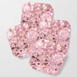 Rose Gold Blush Girls Glitter #1 #shiny #decor #art #society6 Coaster