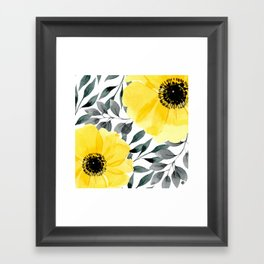 Big yellow watercolor flowers Framed Art Print