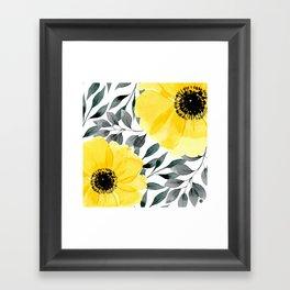 Big yellow watercolor flowers Framed Art Print