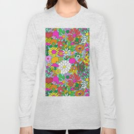 60's Groovy Garden in Blue Long Sleeve T-shirt