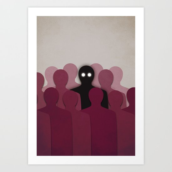 Different And Alone In Crowd Art Print