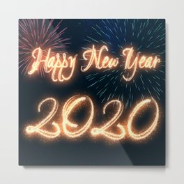 Sparkling Happy New Year 2020 Fireworks Metal Print