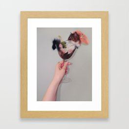Cute cat - martini drink Framed Art Print