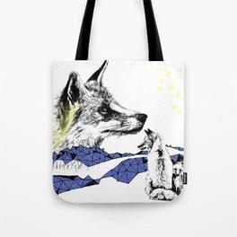 Fox & Cub, Blue & Yellow Tote Bag