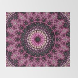 Pink and Black Fractal Feathers Kaleidoscope Throw Blanket