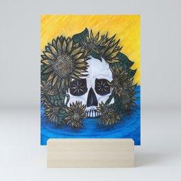 Skull and Sunflowers Mini Art Print