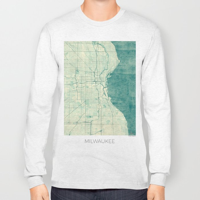 Milwaukee Map Blue Vintage Long Sleeve T-shirt
