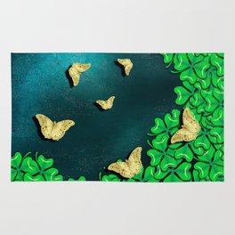 clover and butterflies Rug