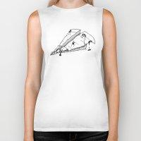 plane Biker Tanks featuring paper plane by gazonula
