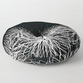 Black Doodle Floral by Friztin Floor Pillow