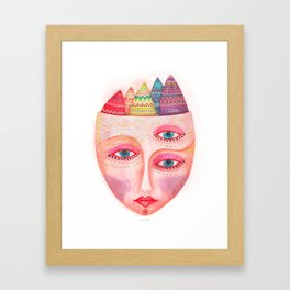 girl with the most beautiful eyes mask portrait Framed Art Print