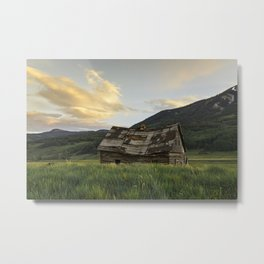 Sunset Over An Abandoned Cabin Metal Print