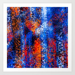 psychedelic geometric polygon shape pattern abstract in blue red orange Art Print