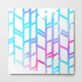 Geometric pink teal watercolor abstract gradient pattern Metal Print