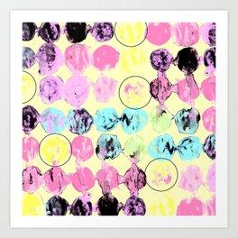 Circles lines abstract painting Art Print