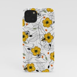Floral Vintage Honey Bee All-over Pattern iPhone Case
