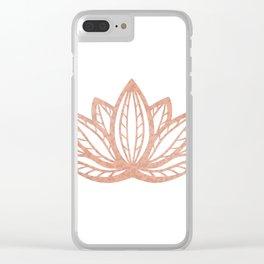 Lotus flower outline tattoo, Rose gold foil boho chic floral design Clear iPhone Case