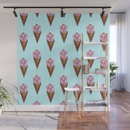 Cute Watercolor Piggy Ice Cream Pink Teal Pattern Wall Mural