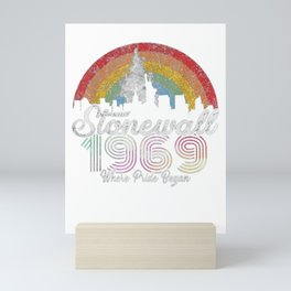 90's Style Stonewall Riots 50th NYC Gay Pride LBGTQ Rights Mini Art Print