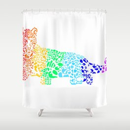 Rainbow Leopard Shower Curtain