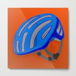 The blue bike helmet Metal Print