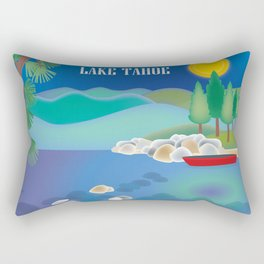 Lake Tahoe - Skyline Illustration by Loose Petals Rectangular Pillow