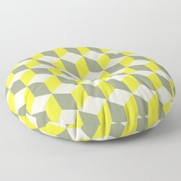 Diamond Repeating Pattern In Limelight Yellow Gray and White Floor Pillow