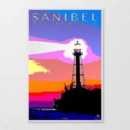 Sanibel Island Lighthouse Mixed Media Art Canvas Print