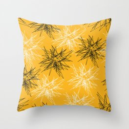 Yellow Squiggles Throw Pillow