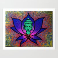 namaste Art Prints featuring Namaste. by Gabrielle Wall