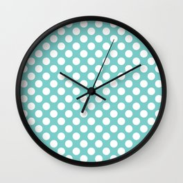 White Polka Dots with Aqua Background Wall Clock