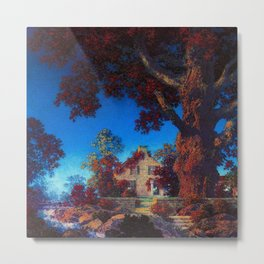 The Little Stone House under the Red Oak Tree by Maxfield Parrish Metal Print