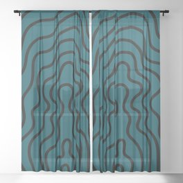 Music Line Vibes Petrol Blue Sheer Curtain