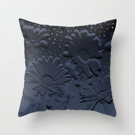 Blue flowers in the night Throw Pillow