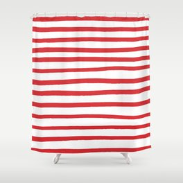 Red hand drawn stripes Shower Curtain