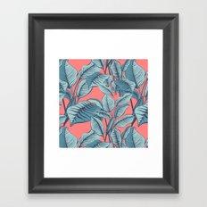 Pink Exotic Tropical Banana Palm Leaf Print Framed Art Print