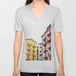 Colored buildings Unisex V-Neck