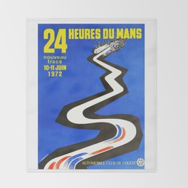 1972 Le Mans poster, car poster, race poster, t-shirt Throw Blanket